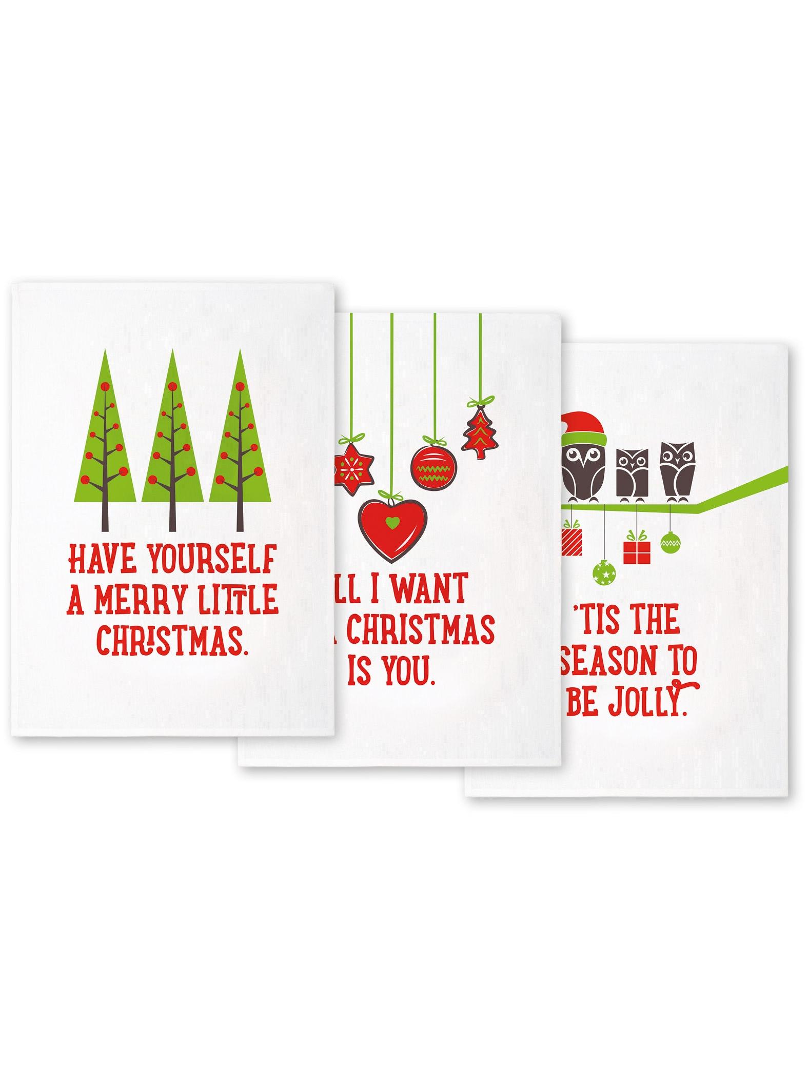 Ogilvies designs christmas aprons gloves amp tea towels - Kitchen Tea Towels Christmas Tea Towel Gift Set Of 3 Nicnacnoo